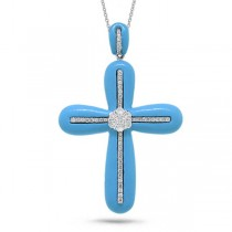 0.37ct 14k White Gold Diamond & Composite Turquoise Cross Pendant Necklace