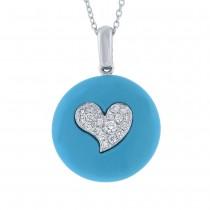 0.16ct 14k White Gold Diamond & Composite Turquoise Heart Pendant Necklace