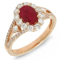 0.72ct Diamond & 1.17ct Heat Treated Ruby 14k Rose Gold Ring