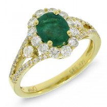 0.72ct Diamond & 1.17ct Emerald 14k Yellow Gold Ring