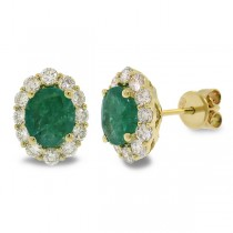 0.92ct Diamond & 1.97ct Emerald 14k Yellow Gold Earrings