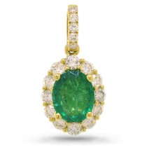 0.50ct Diamond & 0.96ct Emerald 14k Yellow Gold Pendant Necklace