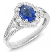 0.72ct Diamond & 1.09ct Blue Sapphire 14k White Gold Ring