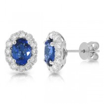 0.92ct Diamond & 2.16ct Blue Sapphire 14k White Gold Earrings