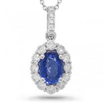 0.50ct Diamond & 1.10ct Blue Sapphire 14k White Gold Pendant Necklace