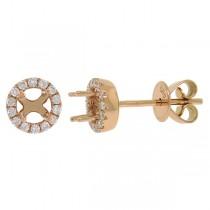 0.20ct 14k Rose Gold Diamond Semi-mount Earrings