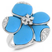 0.25ct 14k White Gold Diamond & Composite Turquoise Flower Ring