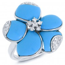 0.25ct 14k White Gold Diamond & Composite Turquoise Flower Ring Size 8