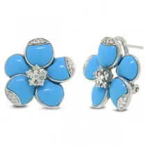 0.25ct 14k White Gold Diamond & Composite Turquoise Flower Earrings