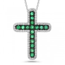0.21ct Diamond & 0.33ct Emerald 14k White Gold Cross Pendant Necklace