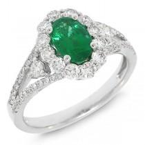 0.72ct Diamond & 1.17ct Emerald 14k White Gold Ring