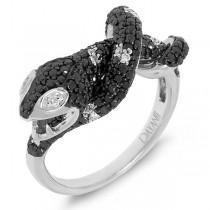 1.30ct 14k White Gold Black & White Diamond Snake Ring