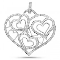 1.20ct 14k White Gold Diamond Heart Pendant Necklace