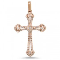 0.30ct 14k Rose Gold Diamond Cross Pendant Necklace