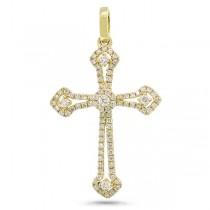 0.30ct 14k Yellow Gold Diamond Cross Pendant Necklace