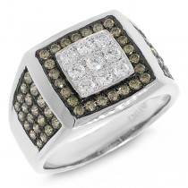 1.54ct 14k White Gold White & Champagne Diamond Men's Ring