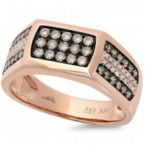 0.87ct 14k Rose Gold White & Champagne Diamond Men's Ring