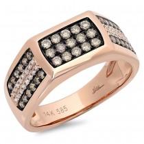 0.87ct 14k Rose Gold White & Champagne Diamond Men's Ring Size 7.5