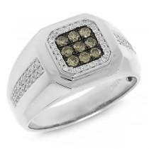 0.57ct 14k White Gold White & Champagne Diamond Men's Ring