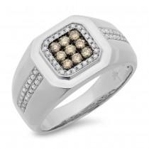 0.57ct 14k White Gold White & Champagne Diamond Men's Ring Size 6