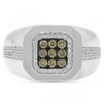 0.57ct 14k White Gold White & Champagne Diamond Men's Ring