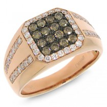 1.15ct 14k Rose Gold White & Champagne Diamond Men's Ring