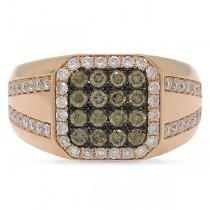 1.15ct 14k Rose Gold White & Champagne Diamond Men's Ring