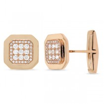 0.73ct 14k Rose Gold Diamond Cuff Links