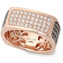1.78ct 14k Rose Gold White & Champagne Diamond Men's Ring Size 9