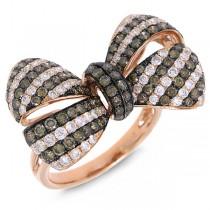 2.19ct 14k Rose Gold White & Champagne Diamond Ribbon Bow Ring