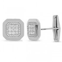 0.73ct 14k White Gold Diamond Cuff Links