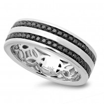 0.86ct 14k White Gold Black Diamond Men's Band Size 9