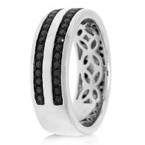 0.86ct 14k White Gold Black Diamond Men's Band