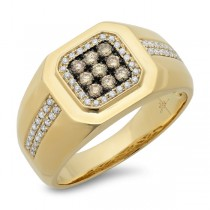 0.57ct 14k Yellow Gold White & Champagne Diamond Men's Ring