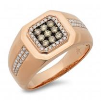 0.57ct 14k Rose Gold White & Champagne Diamond Men's Ring Size 12