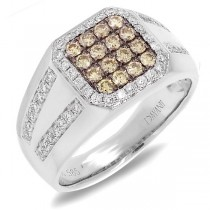 1.15ct 14k White Gold White & Champagne Diamond Men's Ring