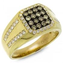 1.15ct 14k Yellow Gold White & Champagne Diamond Men's Ring