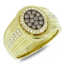 0.67ct 14k Yellow Gold White & Champagne Diamond Men's Ring