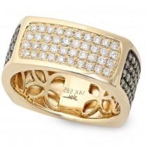 1.78ct 14k Yellow Gold White & Champagne Diamond Men's Ring Size 11