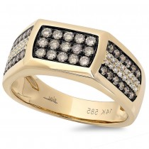 0.87ct 14k Yellow Gold White & Champagne Diamond Men's Ring