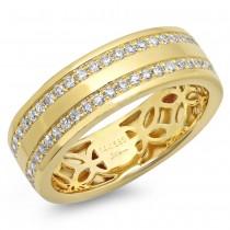 0.86ct 14k Yellow Gold Diamond Men's Band Size 7