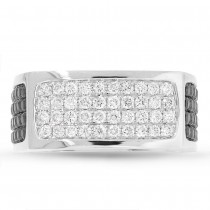 1.78ct 14k White Gold Black & White Diamond Men's Ring Size 14