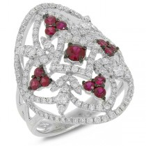 1.10ct Diamond & 0.65ct Ruby 14k White Gold Ring