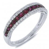 0.21ct Diamond & 0.39ct Ruby 14k White Gold Ring Size 6