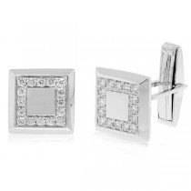 0.82ct 14k White Gold Diamond Cuff Links