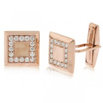 0.82ct 14k Rose Gold Diamond Cuff Links