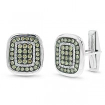 1.45ct 14k White Gold White & Champagne Diamond Cuff Links