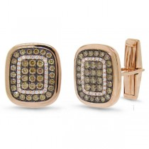 1.45ct 14k Rose Gold White & Champagne Diamond Cuff Links