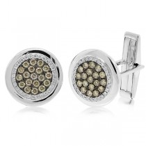 1.00ct 14k White Gold White & Champagne Diamond Cuff Links