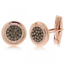 1.00ct 14k Rose Gold White & Champagne Diamond Cuff Links